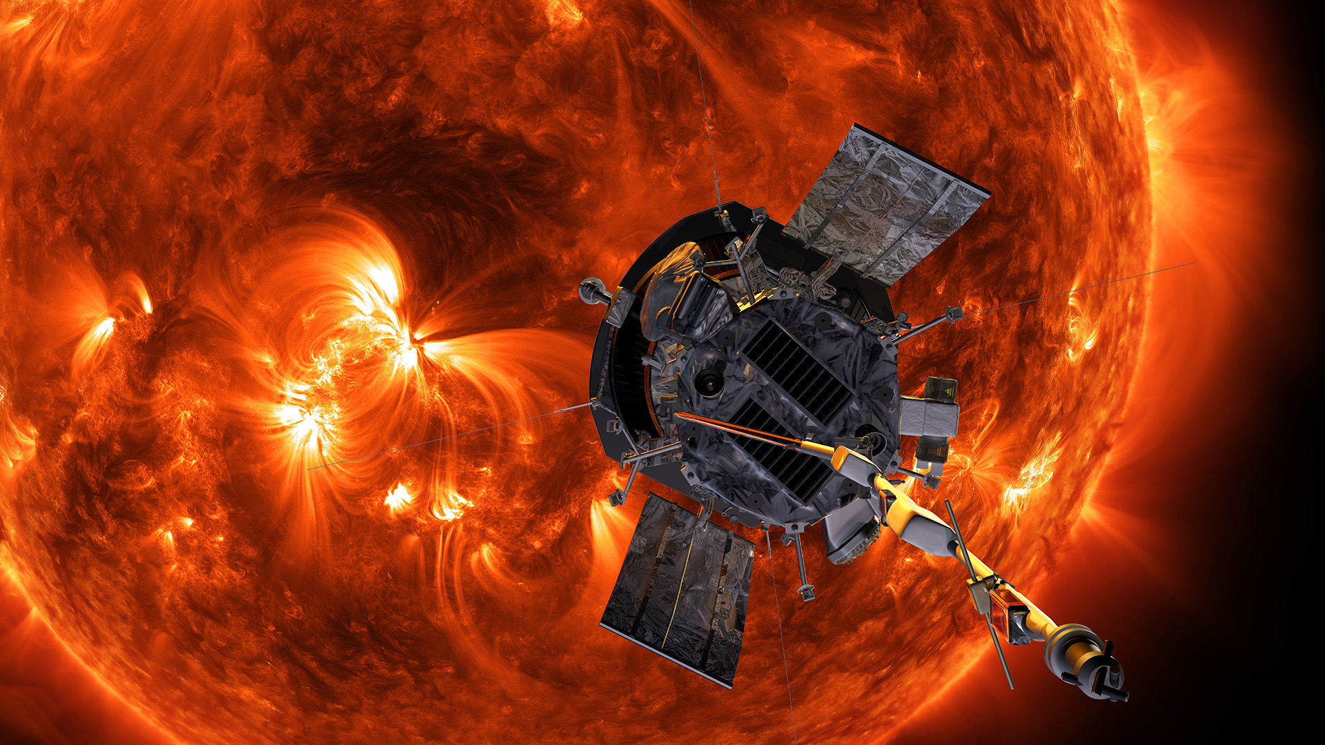 PSP artist rendering of probe in front of sun